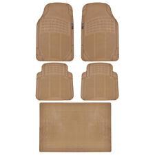 MotorTrend Car Floor Mat w/ Trunk Mat 100% Odorless Trimmable Beige Full Set