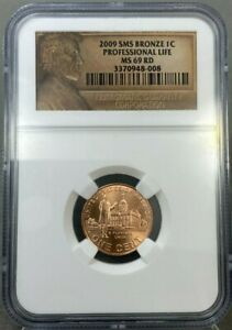 2009 1c SMS Bronze Lincoln Professional Life NGC MS69 RD Bicentennial Coin