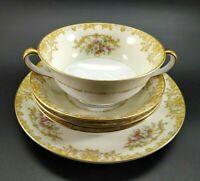 VTG Noritake Dessert Fruit Bowls Plate Handled Cup Floral Gold Japan Murimura