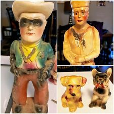 Vintage Chalkware Prize Statue Lot of 5 Wwi Soldier, Bulldog, Lone Ranger etc.