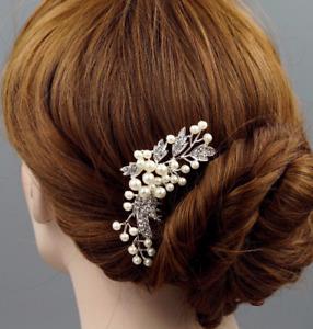 Rhinestone Pearl Silver Plated Bridal Hair comb Hair accessories Wedding
