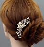 Flower Silver Pearl Crystal Hair Comb Bridal Wedding hair Accessories Headpiece