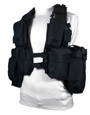 Black Tactical 12 POCKET ASSAULT VEST - Army Military Ammo Rig Utility Pouch