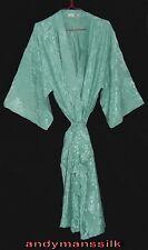 Thai Silk Floral Kimono / Robe / Dressing Gown / Night Dress / Green
