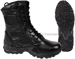 """Forced Entry 8"""" Black Side Zipper Tactical Deployment Boot - Military SWAT Boots"""