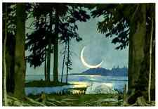 Art Postcard: Crescent Moon Over Lake, Forest, c. 1906 - Ivan Bilibin