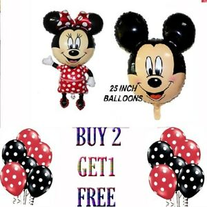 Mickey Mini Mouse Happy Birthday Foil Air Helium Balloon set Kids Party Decor