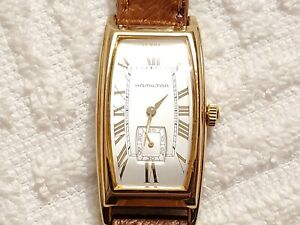 Vintage Hamilton Swiss Quartz Watch Fifteen Jewels Leather Strap Silver Dial
