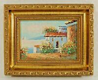 "Original Vintage 10x8"" BURNETT Impressionist Oil Painting Board Gold Wood Frame"
