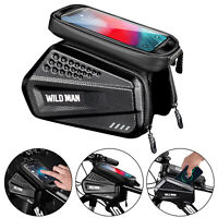 WILD MAN Bicycle Phone Bag MTB Bike Front Frame Touch Screen Hard Shell Bag Case
