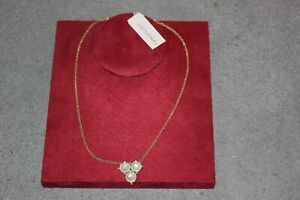 AUTHENTIC JUDITH RIPKA GOLD PLATED SILVER MOONSTONE & CZ 50 CM PENDANT NECKLACE