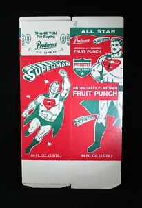 Vintage SUPERMAN Fruit Punch 64 oz Carton Flat Unused Old Store Stock 1960's