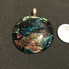 Unique large dichroic pendant. Multi color w/stars.