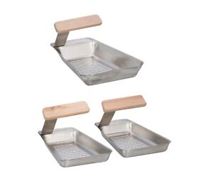 BBQ Grill Pan Stainless Steel Barbeque Grill Basket Tray Vegetable Fish Outdoor