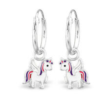 925 Sterling Silver Unicorn Sleeper Hoop Earrings Kids Girls Jewellery Gift 12mm