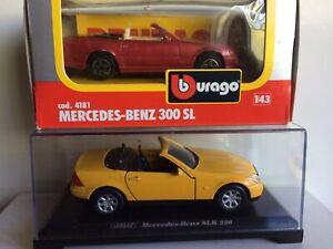 Bburago 1/43 Mercedes 300 SL and Welly Mercedes SLK