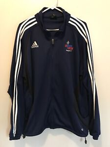 Adidas Mens Climacool Navy Full Zip Track Jacket W/White 3 Stripes Size Large