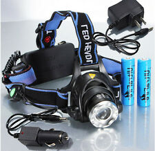 CREE XM-L T6 LED 2000Lm Zoomable Headlamp Headlight Torch 2x 18650 with Charger