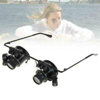 1x Binocular Glasses Type 20X Watch Jewellery Repair Magnifier with LED Light