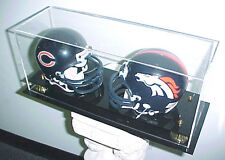 Double Mini Helmet Acrylic Display Case Black Acrylic Base Gold Risers 100% UV