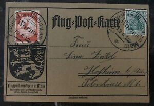 1912 Worms Germany Schwaben Zeppelin Experimental Postcard Airmail LZ 10 Cover