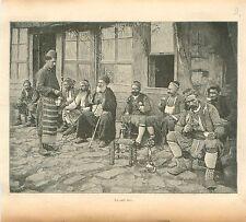 Café Turc Istanbul Turquie Islam Musulman  GRAVURE ANTIQUE OLD PRINT 1901