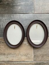Lovely Pair Oval Gold Detail Brown Coloured Frame Picture Photo Wall Hanging