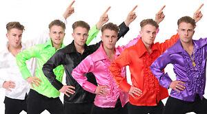 MENS 60s 70s DISCO RUFFLE SHIRTS ADULTS FANCY DRESS COSTUME FRILLY TOP SHIRT