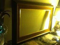 """43"""" EXTRA LARGE Mid Century Frame Mediterranean  2 Pc Velvet Gold Insert Wood"""