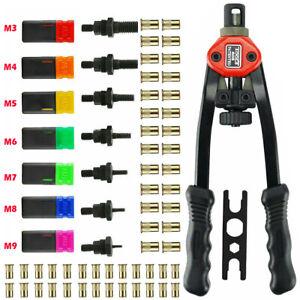 Pro Hand Rivet Nut Tool Set Riveter Gun 7 Mandrels 140pc M3-M12 Rivet Repair Kit