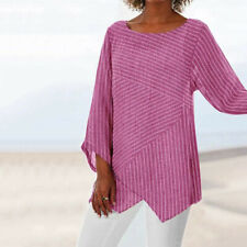 New Womens Striped V Neck Blouses Loose Baggy Tops Tunic T Shirts Plus Size CA