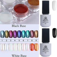 9Boxes Mirror Powder Dust+2Bottles Soak Off UV Gel Nail Polish Kit BORN PRETTY
