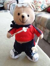 stuffed animal Ski Bear with plastic snow skis