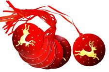 50 x RED GOLD REINDEER CHRISTMAS Gift Tags & Tying Ribbon - Xmas Gift Cards