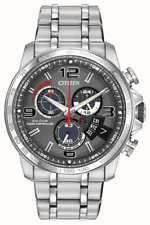 New Citizen Eco-Drive Chrono-Time A-T Atomic Silver Tone Men's Watch BY0100-51H
