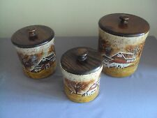 Repp 3 Piece Barn Farm Scene  HAND PAINTED Pottery Canisters Set Canister Signed