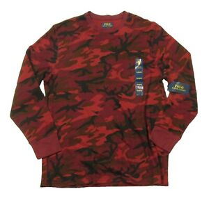 Polo Ralph Lauren Men's Red Camo Waffle Knit Thermal Crew-Neck T-Shirt