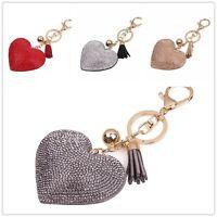 Crystal Heart Rhinestone Handbag Charm Pendant Keyring Bag Keychain  Key Chain