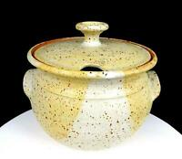 "NEWLANDS SIGNED NORTHWEST ART POTTERY TAN & CREAM SPECKLED  8 1/4"" SOUP TUREEN"