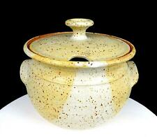 """NEWLANDS SIGNED NORTHWEST ART POTTERY TAN & CREAM SPECKLED  8 1/4"""" SOUP TUREEN"""