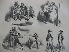 Lithographie ancienne originale Bellangé costumes romantisme soldats escrime
