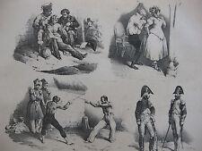 Lithographie ancienne originale Bellangé costumes romantisme soldats escrime