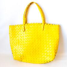 "Women's Large Woven Handbag Beach Bag Yellow - 15"" x 13"""