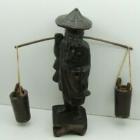 "Vintage Wood figurine Oriental ~ ASIAN Old Man Carrying 2 Water Bucket  8"" Tall"