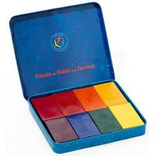 Tin of 8 Block Stockmar Non-Toxic Beeswax Wax Crayons in Waldorf Colors 628501