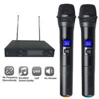 Professional Mic System Wireless Microphone UHF 2 Channel Dual Handheld Karaoke