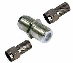 TV SATELLITE VIRGIN BROADBAND COAXIAL CABLE JOINER 2 X F PLUGS 1 X F CONNECTOR