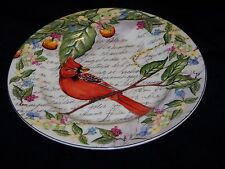American Atelier Bird Plate #5071 Morning Song CARDINAL Flowers Fruit Script VGC