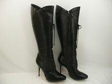 Alexander McQueen Black Leather/Patent Trim Skull Knee High Boots Sz 37.5 / 7.5
