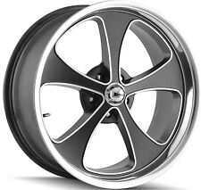 """Staggered Ridler 645 Front:18x8,Rear:18x9.5 5x4.75"""" +0mm Black Wheels Rims"""